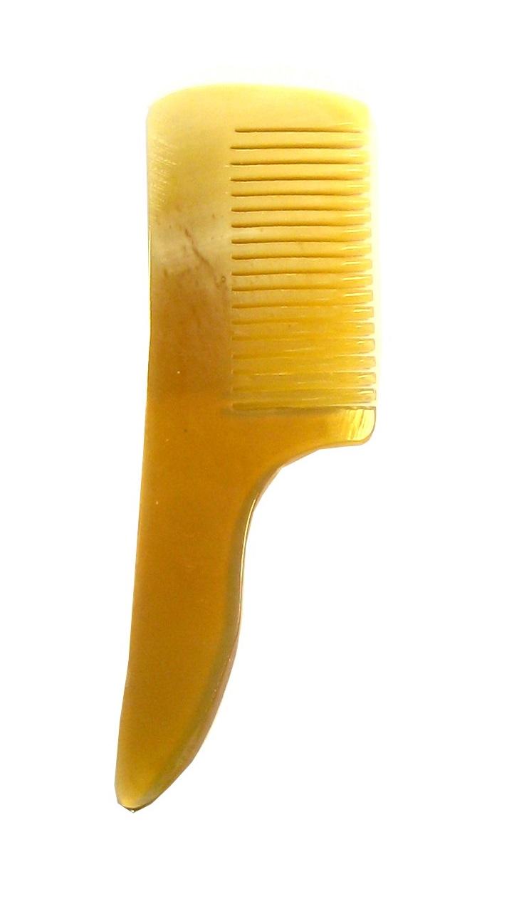 Golddachs Bartkamm aus handgesägtem Horn, mit Griff