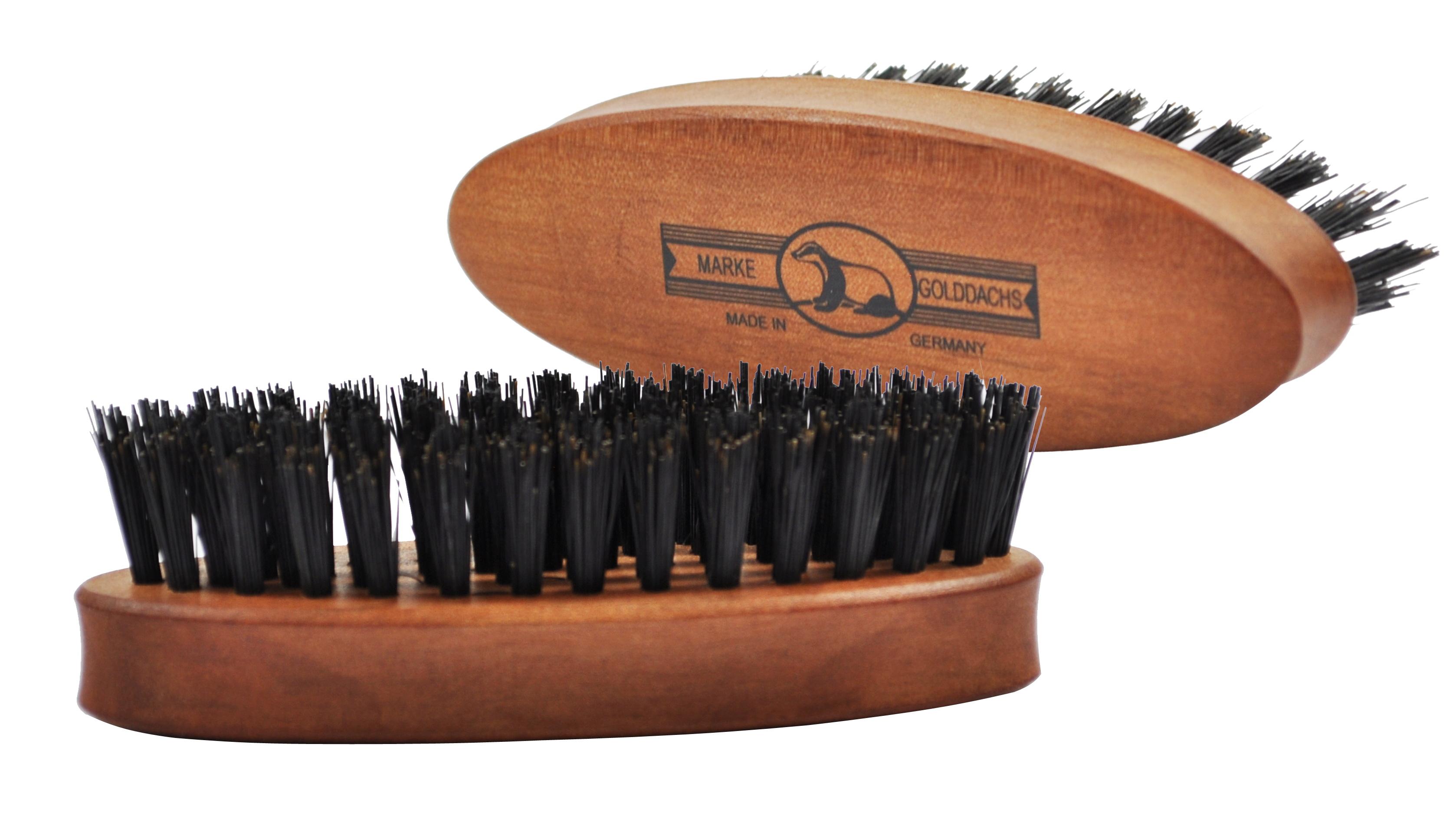 Golddachs Bartbürste aus Birnenholz mit Wildschweinborsten