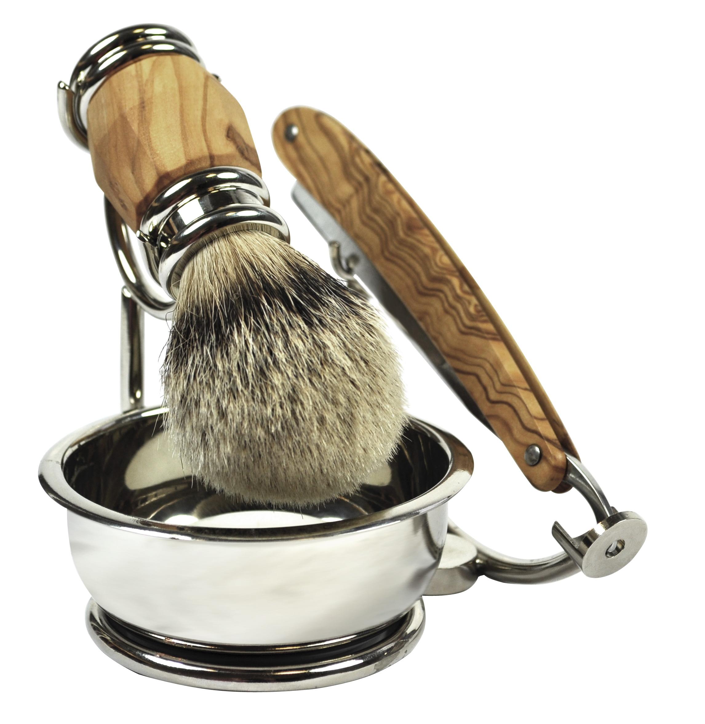 Golddachs Rasiermesserset Olivenholz mit Seifenschale